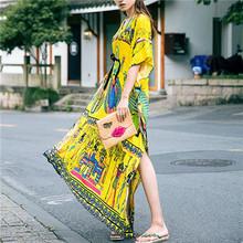 Buy Bohemian Beach Dress Kaftan Ethnic Cotton Rayon Maxi Dress Women Vintage V-neck Tunic Boho Casual Printed Long Dress for $21.49 in AliExpress store