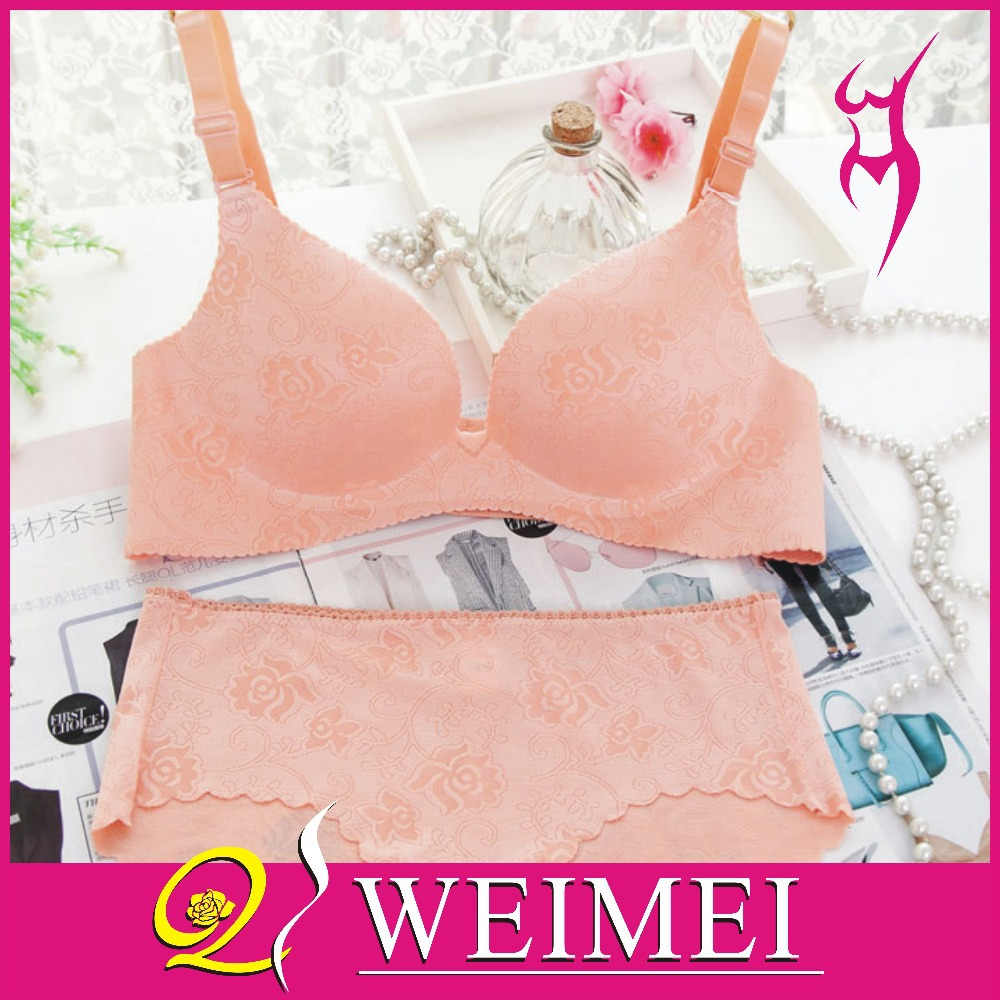 New Brand Sexy Seamless One Piece Intimates Bras & Brief Sets Underwear For Womens Ladies Push Up Plunge Dress Bra Sets(China (Mainland))