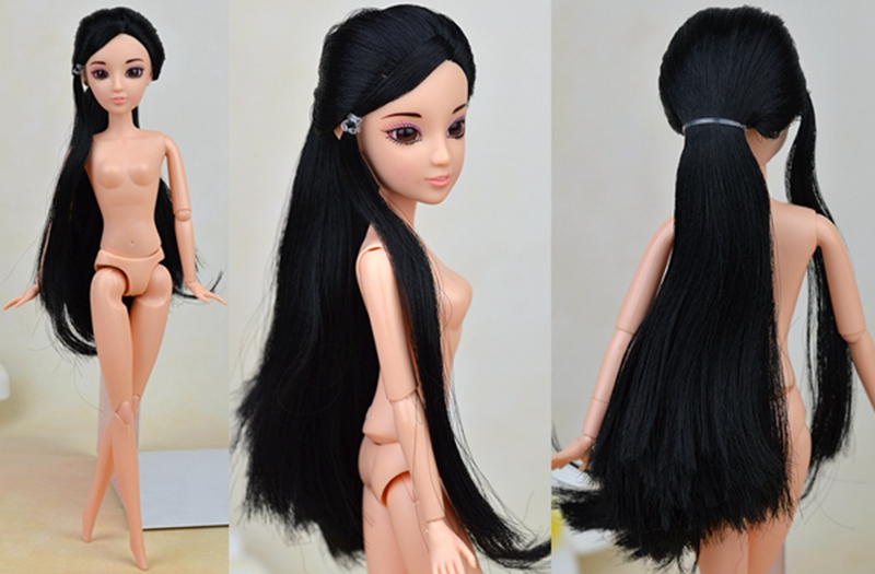 Children Toy 1/6 Doll Head With Black Lengthy Hair + 12 Joints Bare BJD Doll Physique For Barbie Doll Home Kids Reward