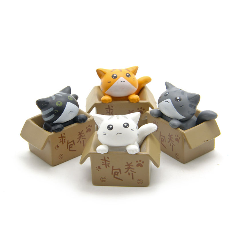 Cute Seek nurturing Cheese Cat Cartoon Anime Action Figure Resin Toys DIY Model For Children Kids Christmas Toys Girls Gifts(China (Mainland))