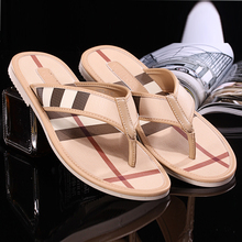 Summer high quality male slippers genuine cowhide leather sandals flip-flop fashion brand design flip flops casual male sandals(China (Mainland))