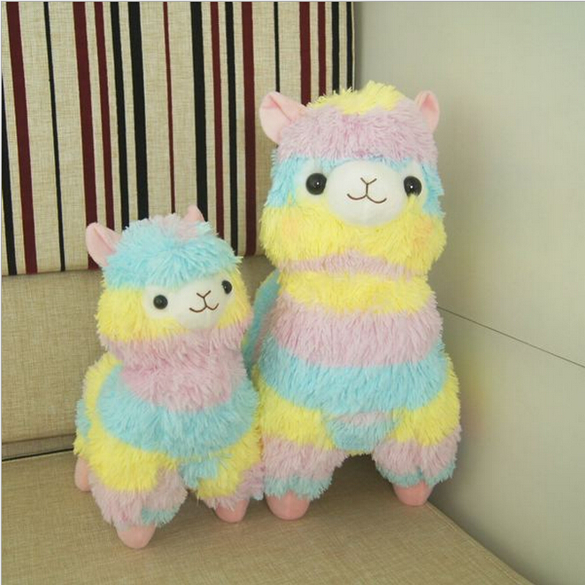 Rainbow 1* Alpaca Vicugna Pacos Plush Toy Japanese Soft Plush Alpacasso Baby Plush Stuffed Animals Alpaca Gifts 35cm and 45cm(China (Mainland))