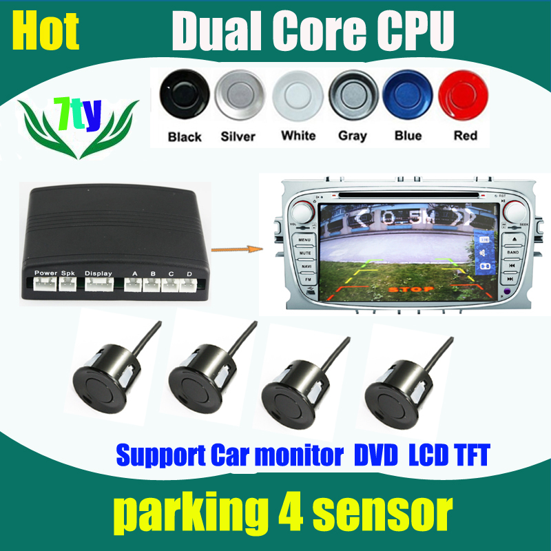 Auto Reversing Detector connect any LCD Monitor or DVD and Step-up Alarm Video car Parking Sensor Reverse Backup Radar System(China (Mainland))