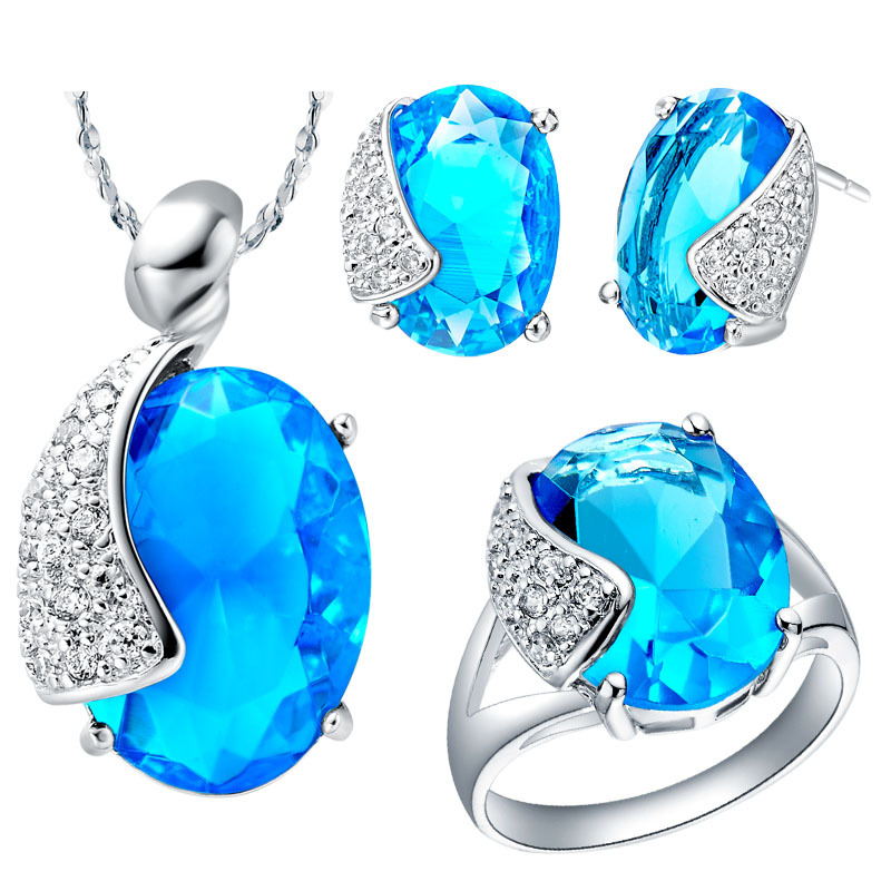 Fashion Wedding CZ Diamond Jewelry 925 Sterling Silver Sets for Brides Blue Pendants Necklace and Earring Ring Set Ulove T061(China (Mainland))