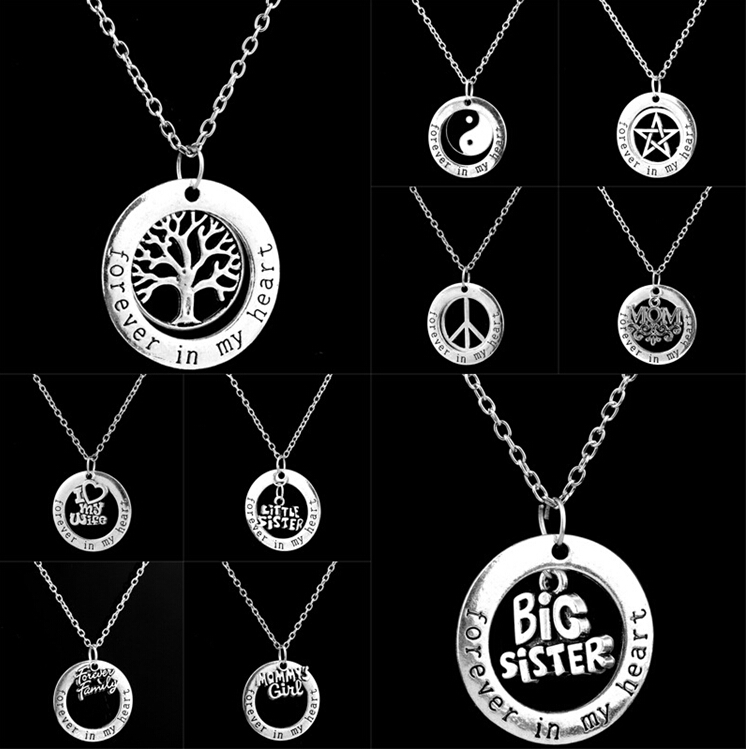 Antique Silver Round Circle Forever In My Heart Pendant Necklace With Life Tree Star Sister Mom Yin Yang Charm Christmas Gifts(China (Mainland))