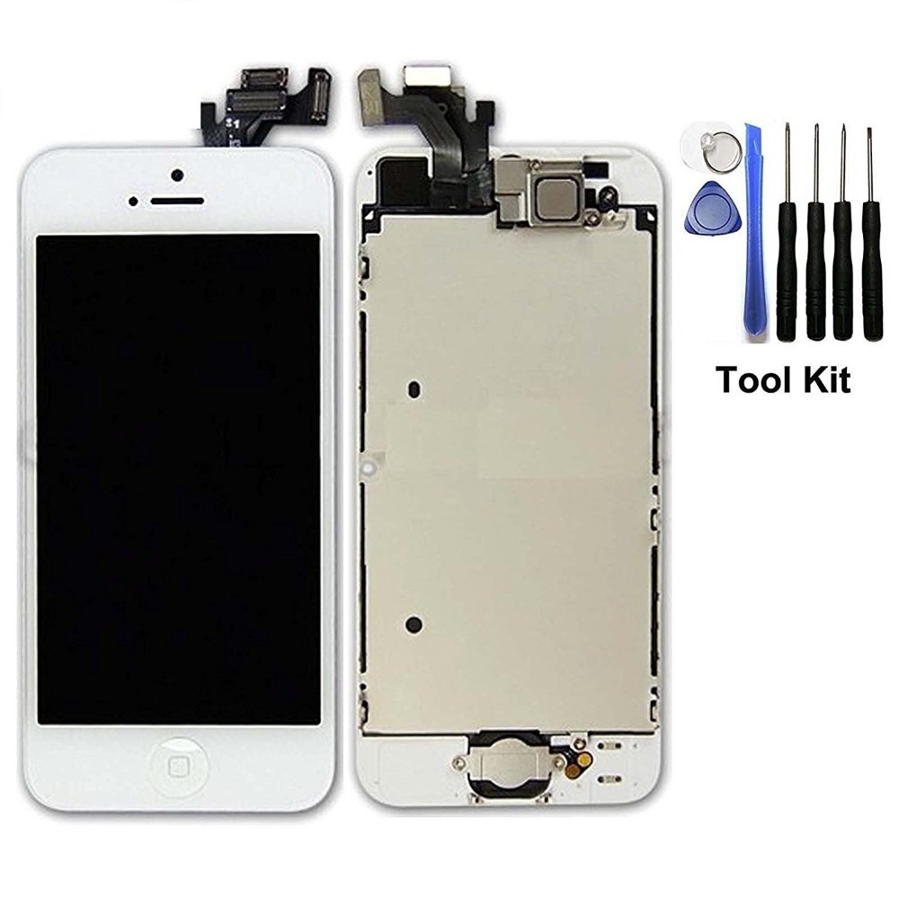 White for iPhone 5 5G Full Set with Spare Parts LCD Screen Replacement Digitizer with Home Button Frame Housing Assembly Display(China (Mainland))