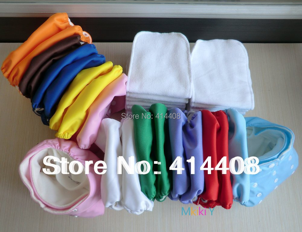 LOT 30 pcs LINERS INSERTS and 30  BABY CLOTH DIAPERS TPU COVER NAPPIES POCKET ONE SIZE FIT MOST WASHABLE ADJUSTABLE MULTICOLOR<br><br>Aliexpress