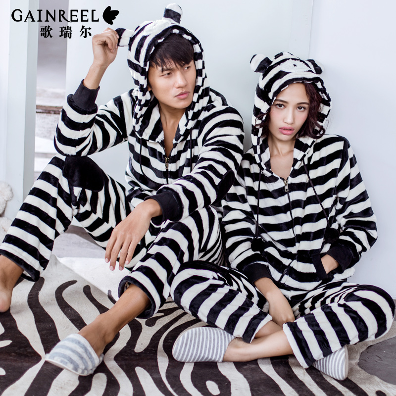 Song Riel autumn and winter fashion casual striped flannel pajamas couple home service men and women