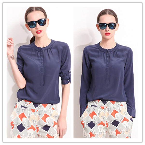 ROSALIN 2014 NEW AUTUMN WOMAN FASHION FULL SLEEVE TURN-DOWN COLLAR SOLID NAVY BLUE 100% NATUAL SILK BLOUSE RC402108(China (Mainland))