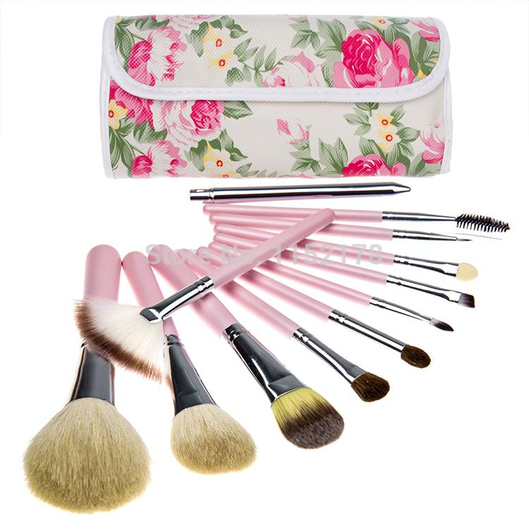 New Fashion! 12Pcs Makeup Brush Set With Beautiful Flower Makeup Bag Pink Rose In Chinese Style Best Gift 10(China (Mainland))