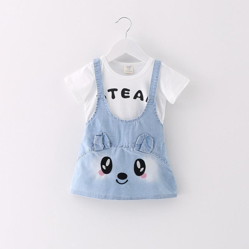 2016 summer new children's clothing girls cotton fashion strap personality two denim skirt(China (Mainland))