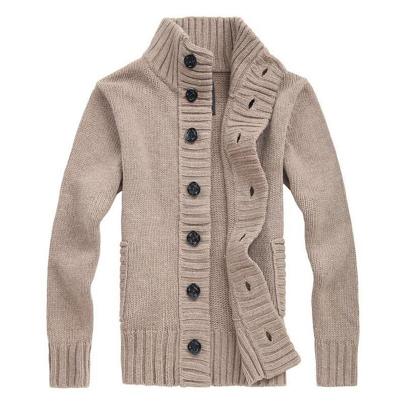 Winter Spring Sweater Men Thick Cotton Full Sleeves Mandarin Collar Solid Cardigans Mens outdoors Button Sweaters(China (Mainland))