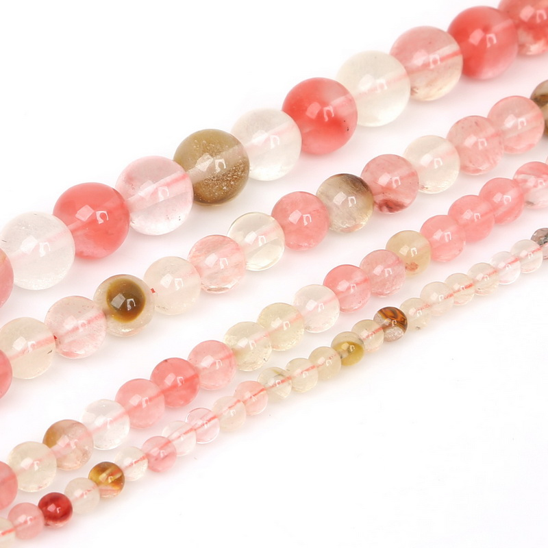 New Fashion 15''/strand Selectable 4m 6m 8m 10mm Round Natural Stone Pink Watermelon Beads Bracelet Necklace Christmas Gift