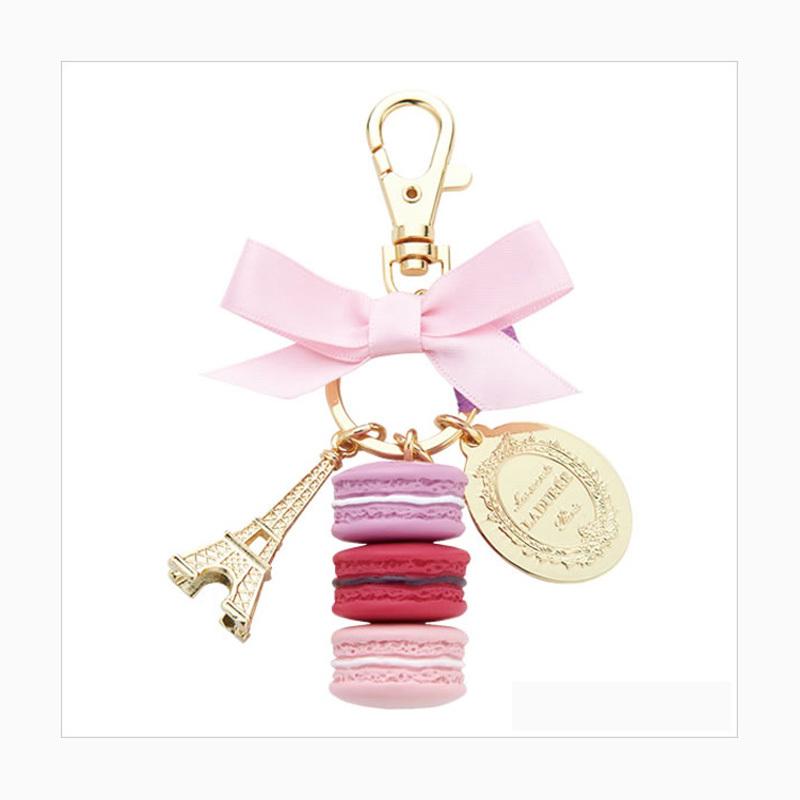 Popular pendant Cake key chain fashion France Gift box key chain Macarons Effiel Tower birthday gift Creative gifts car key(China (Mainland))
