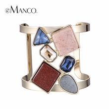 eManco Hot Now Colorful Geometric Hollow Statement Cuff Bangle Open Bracelets for Women Crystal Stone Copper Gold Plated Jewelry(China (Mainland))