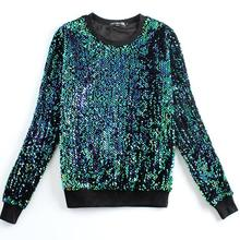 New Fashion women Hoodies Round neck brand Sequined beading gold green Sweatshirts plus size xxl(China (Mainland))