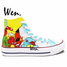 High Top Pokemon Sneakers Hand Painted Pocket Monster Canvas Shoes Men Women Birthday Gifts Hand Painted Art Wen
