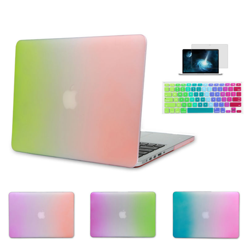 Rainbow Color Gradient Matte Pro 13 15 New 12 inch Retina Case for Apple MacBook Air 11 13.3 Laptop Sleeve With keyboard Cover(China (Mainland))