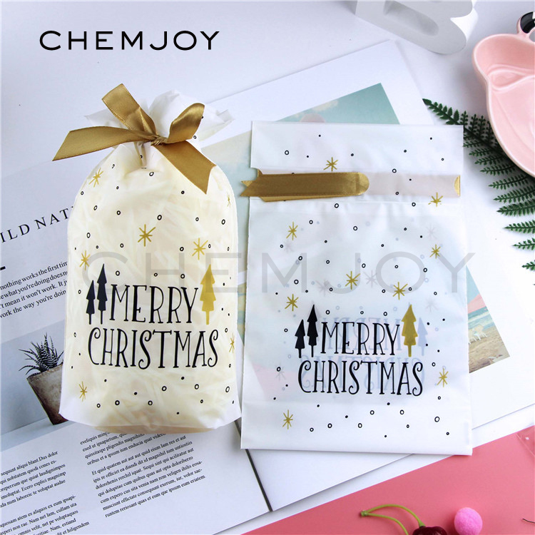 Christmas Gift Bags With Ribbon Candy Favor Box Dessert Cookie Packaging Bag Party Christmas Decorations For Home Paper Wrapping Paper Paper Wraps