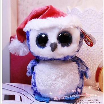 TY big eyes christmas blue owl plush toy soft toy(China (Mainland))