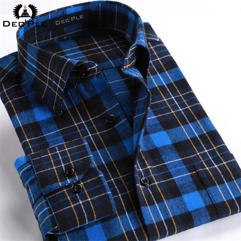 4xl cotton flannel men shirts 2016 fashion winter long for Where to buy cheap plaid shirts