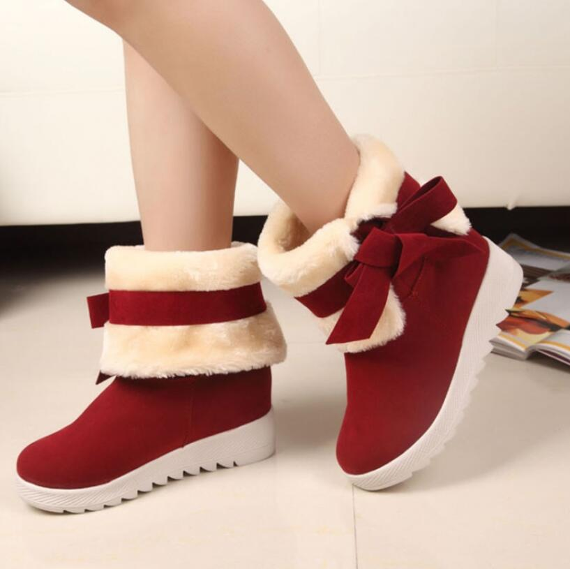 2016 New Arrival Hot Sale Women Boots Solid Bowtie Slip-On Soft Cute Women Snow Boots Round Toe Flat with Winter Shoes AA264(China (Mainland))