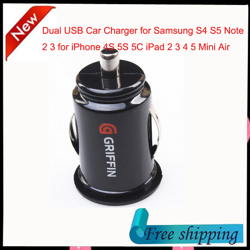 Micro Auto Universal Dual 2 Port USB Car Charger for iPhone 4S 5 5S 6 Plus iPad Mini 3 4 5 Air Samsung Galaxy S4 S5 Note 2 3 4(China (Mainland))