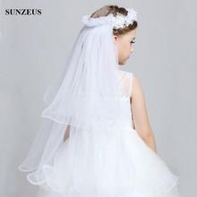 Flower Girl Veil 2 Layers Tulle Wedding Veil For Girls Kid Baby Hairband Garland Hairwear Accessories Decoration BV-057(China (Mainland))