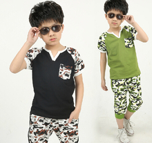New Children's Clothing Male Child 2016 Baby Summer Camouflage Set Kids T-shirt short-sleeve Casual Shorts Set Clothes Sets(China (Mainland))