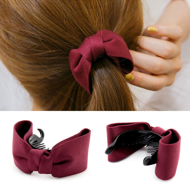 2017 New Hair Claw Solid Big Bows Banana Hairpins Ties Ponytail Headband Hair Clips Hair Accessories For Women Girls Headwaer(China (Mainland))