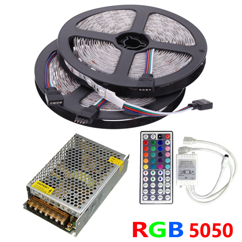 10M RGB LED Strip 5050 60LEDs/M SMD Flexible Tape Ribbon Light Set+IR Remote Controller+DC 12V 10A Power Supply Transformer(China (Mainland))