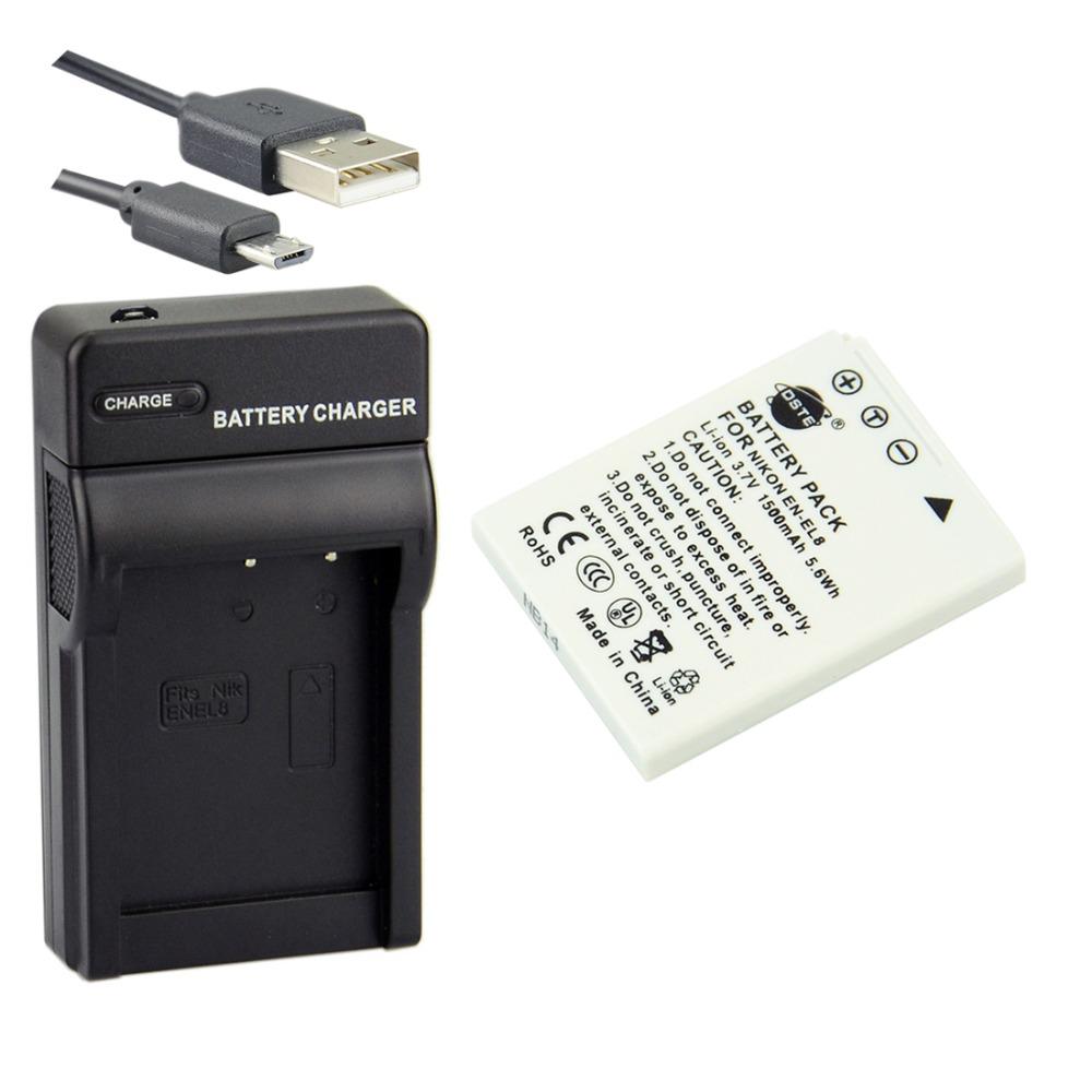 DSTE EN-EL8 Li-ion Battery + UDC14 usb charger For Nikon Coolpix S9 S8 S7c S6 S5 S4 S3 S2 S1 S5 S6 S7 Camera(China (Mainland))