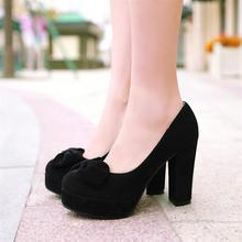 free shipping Customize Women's Small Yards 32 33 Velvet High-heeled Single Thick Heel Shoes Sweet Princess Plus Size Shoes 40(China (Mainland))