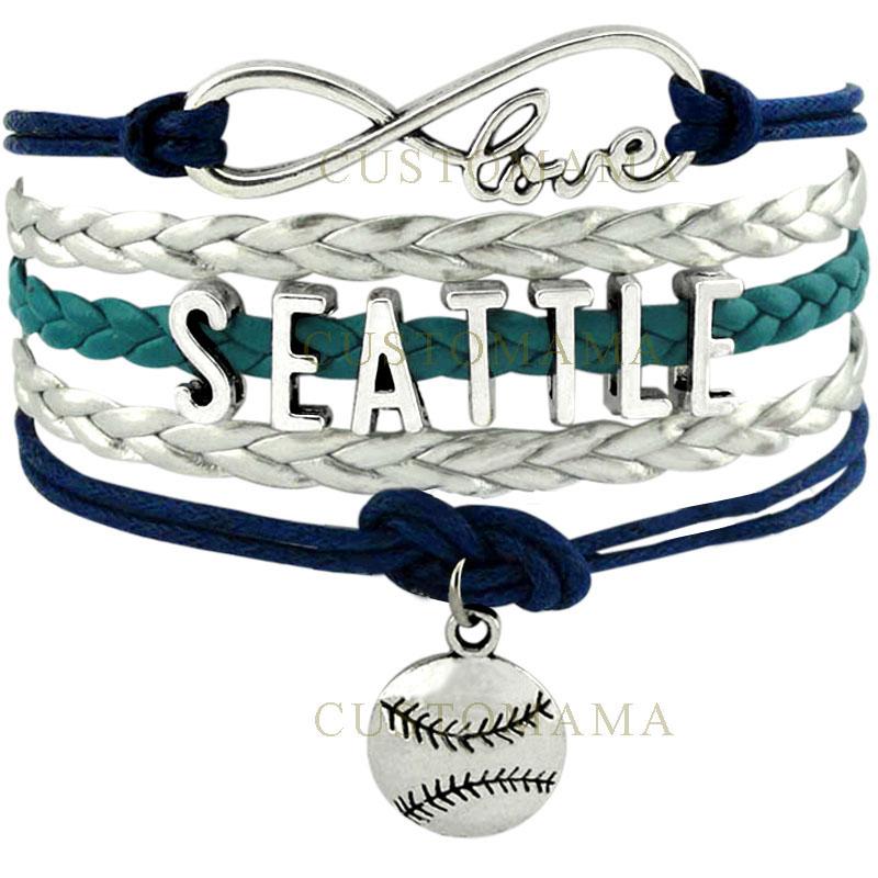 CUSTOMAMA Infinity Love Seattle Baseball Charm Multilayer Bracelet Gift for Baseball Fans Navy Blue Green Silver Leather Custom(China (Mainland))