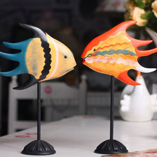 Pack post fashion Individuality wood pure hand carved kiss fish lovers home accessories shop direct creative home Gifts to share(China (Mainland))