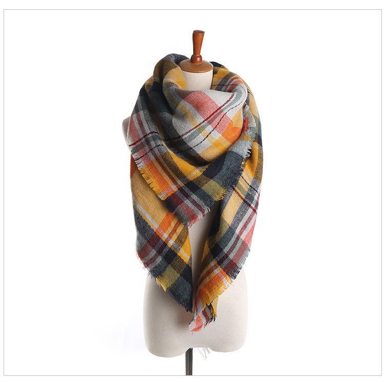New Lady Women Blanket Rainbow Multi Color Cozy Checked font b Tartan b font Scarf Wraps