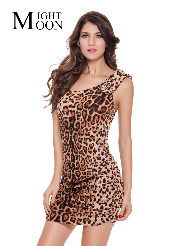 MOONIGHT Leopard Sexy Dresses Single Shoulder Woman Mini Sexy Women Sexy Dresses Party Night Club Dress Sexy Club Dress 2017(China (Mainland))