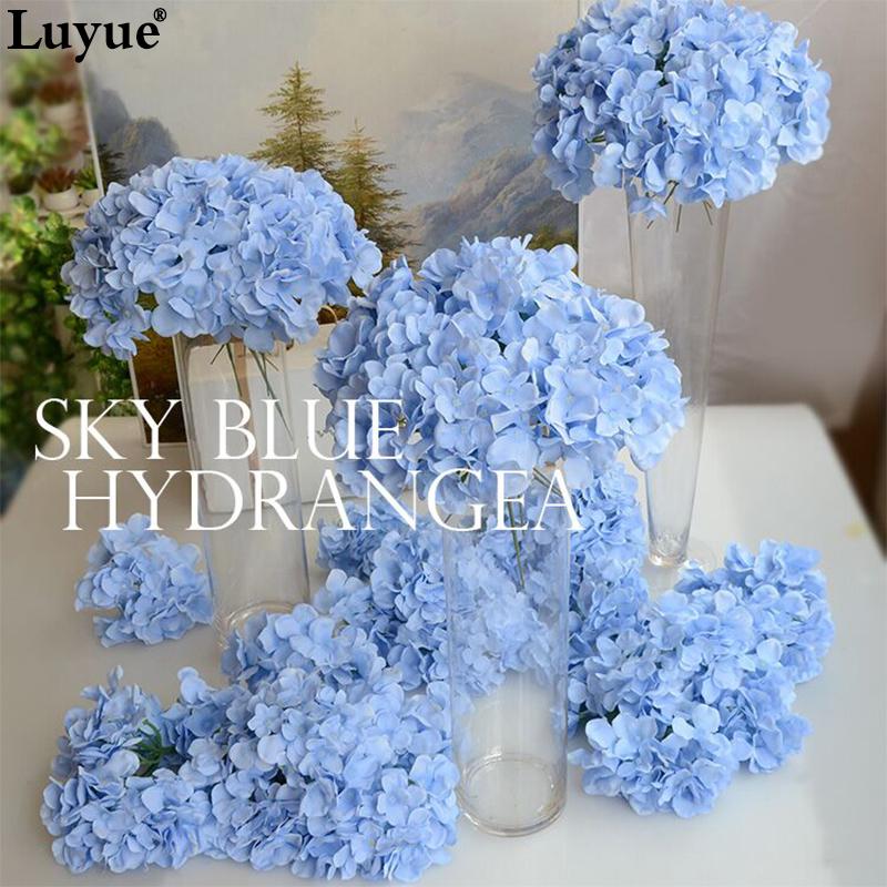 Luyue 20pcs Wedding Decoration Hydrangea Flower Heads15cm Artificial DIY Silk Artificial Wedding Flowers Accessories Wholesale(China (Mainland))