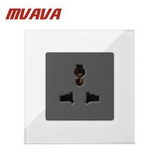 Buy MVAVA 3-Pins Universal Sokcet White Crystal Glass 10A Multifunctional Universal Wall Socket Country Free for $9.86 in AliExpress store