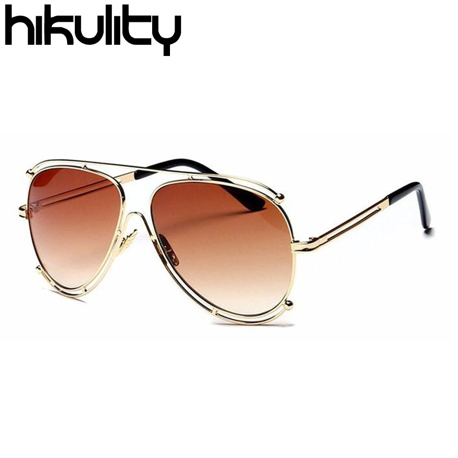 Brand Italy Design Glasses Aviator Luxury Celebrity Shadow Sun Flat Top Hollow-Out Big Sunglasses for Women Lunette Femme Luxe(China (Mainland))