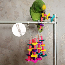 Cute Colorful Pet Bird Chewing Toys Parrot Macaw Cage Wooden Blocks Swing Playing Scratcher Climbing Toy for Pet Bird E#CH(China (Mainland))