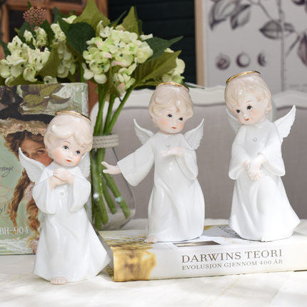white ceramic statue angel sculpture porcelain angle figurine modern craft ornament accessories home decoration christmas gift - money store