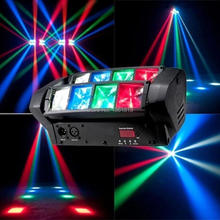 Buy  (1 pcs)Mini Spider Moving Head 8x6w Cree LED RGBW 4in1 Beam Stage Dj Disco Laser show Sound Light for $76.89 in AliExpress store