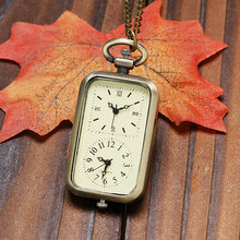 Classical Rectangle 2 Clock Design Bronze Fob Necklace Pendant Pocket Watch 2 Time Zone Gift for Pilots Flight Attendants(China (Mainland))