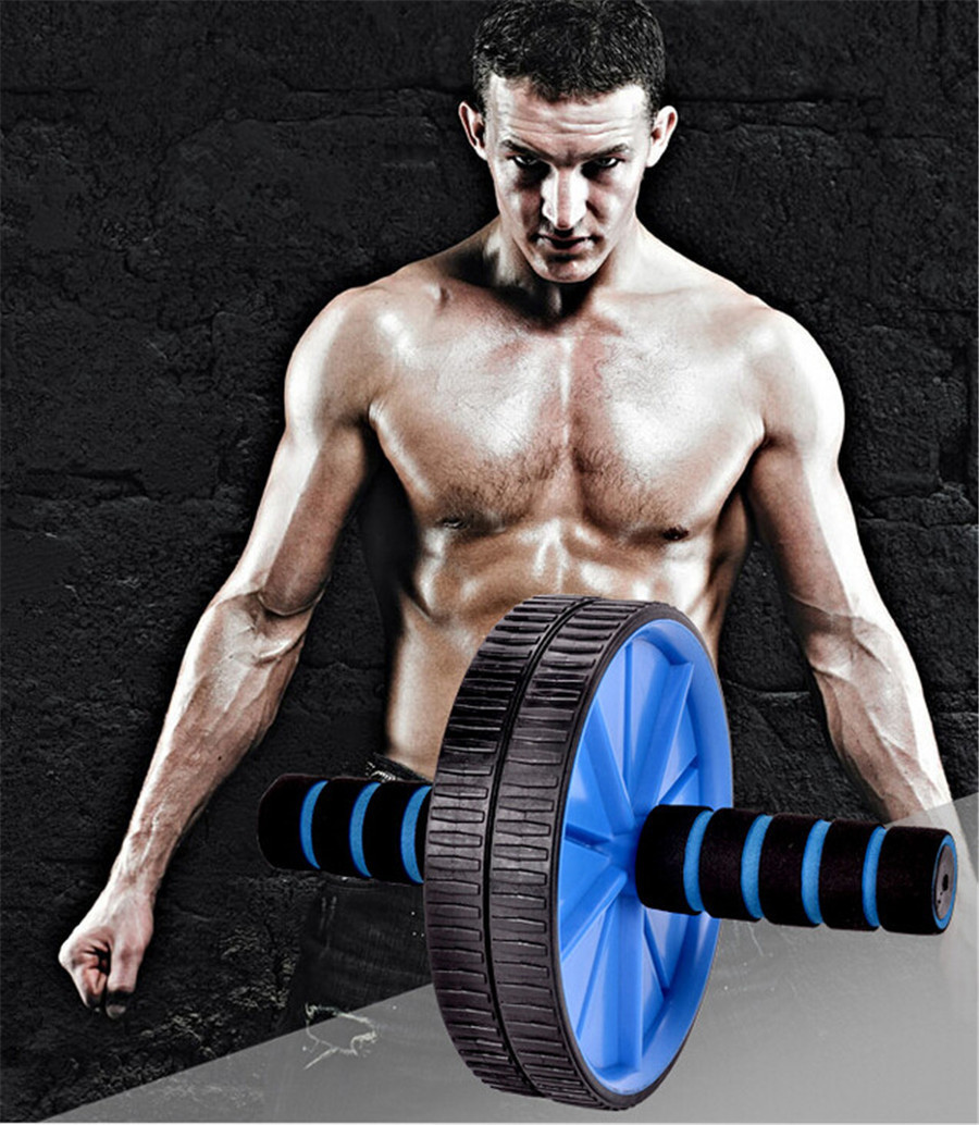 New Blue ABS Abdominal Exercise Roller Wheel GYM Fitness Machine Training Roller Free Shipping S126-C(China (Mainland))