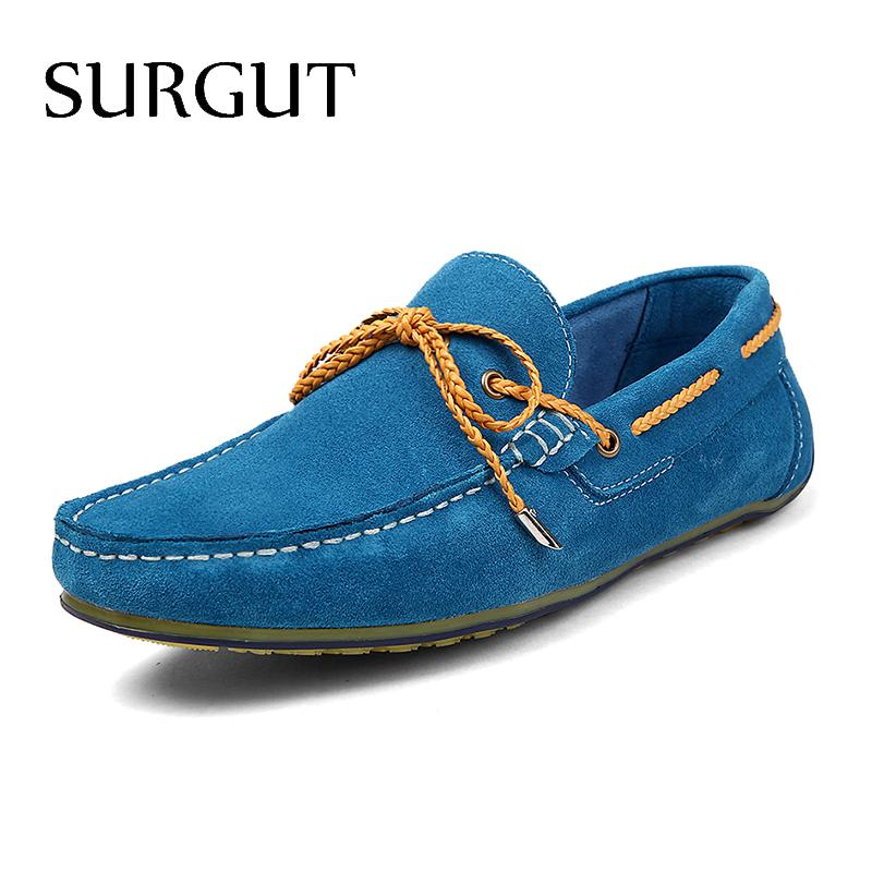 Fashion Moccasins Men Loafers Nubuck Leather Shoes Mens Flats Lace up Suede Genuine Leather High Quality Gommino Driving Shoes<br><br>Aliexpress
