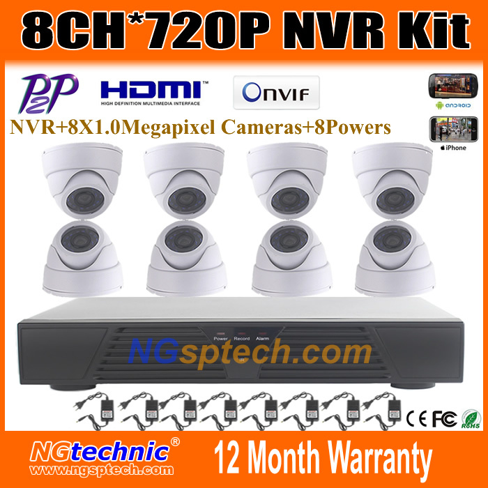 New arrive promotiom 1.0MP Indoor Dome IP camera 1280X720P IR with P2P and 8ch H.264 NVR CCTV Security system NVR Kit<br><br>Aliexpress