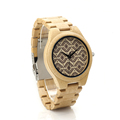 BOBO BIRD I28 Mens Wooden Watch Ebony Band Wavy pattern Dial Face Japan Quartz Clock for