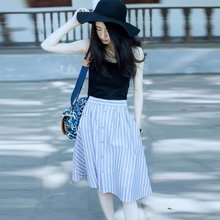 new fashion summer style brand skirts womens cotton long skirt blue high waist skirt striped skirt(China (Mainland))