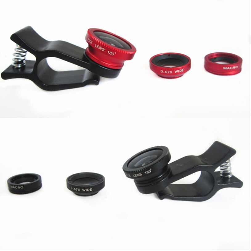 3 In 1 Universal Clip camera Mobile Phone Len Fish Eye + Macro + Wide Angle for iphone 6 5 4 Samsung S4/S5 note2 Fisheye(China (Mainland))